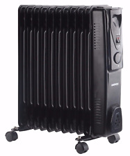 Daewoo Black 1500W Portable Oil Filled Radiator Heater with Thermostat Control
