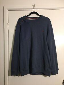Mens Jumper Sweat Shirt Blue Size L One True Saxon Crew Neck