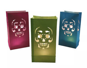 12 Day Of The Dead Luminary Bags, Halloween Paper Party Bag Tea Lights Candles