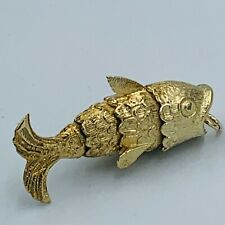 Vintage 9ct Yellow Gold Articulated Fish Charm Pendant 7.5g #873