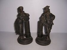Antique Cast Metal Man and Woman Set of 2 Figural Statues