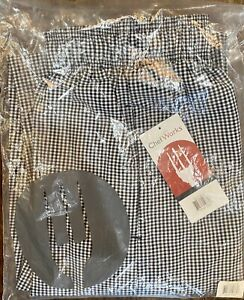 CHEF WORKS CHECKERED BAGGY DESIGNER CHEF PANTS SIZE: SMALL *NEW*