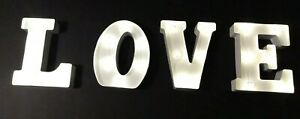 "Victoria Lynn LOVE White Marquee Letters 4 Pieces Metal sign  8"" Wedding NIB"