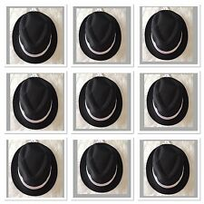 Pack of 9 Black Fedora Trilby Gangster Detective hat /Costume/ Party