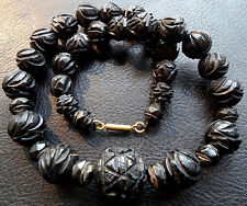 antique Victorian WHITBY JET fancy carved rose flower bead necklace -C51