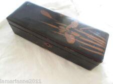 BOITE A EVENTAILS FUBAKO DU JAPON  EN BOIS LAQUE A RESTAURER L. 28 cm FAN BOX
