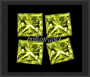 Diamant Prinzess Farbe Gelbgrün, VS, 4 Stück; echte Diamanten