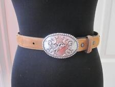 Nocona Womens Brown Leather Belt w/ Silver Bucking Bronco Buckle Sz 26
