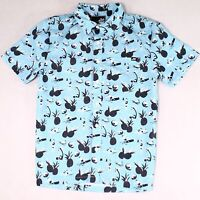 ...Lost Mens Shirt Blue Size Small S Button Down Print Short Sleeve $54 #182