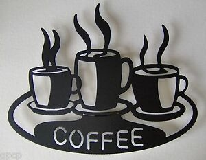 Coffee Cups On Platter Kitchen Metal Wall Art