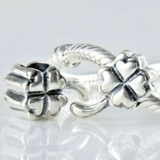 LUCKY FOUR LEAF CLOVER Charm Bead 925 Sterling Silver