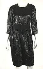 J. MENDEL Metallic Black Lurex Jacquard Grosgrain-Waist Dress 10