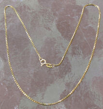 "VINTAGE 14K GOLD BOX Link NECK CHAIN 15"" ITALY New OLD Stock NECKLACE 4.5 GR"