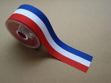 Cinta tricolor BLANCO AZUL ROJO 50mm Rollo de 25 metros(reclutas, medallas)