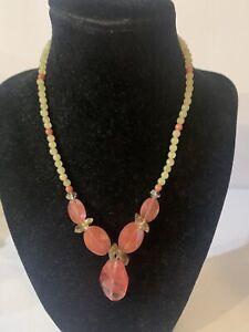 Cherry Quartz and Citrine Necklace and Bracelet Set