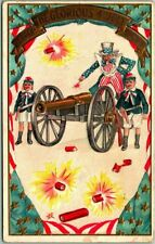 1907 FOURTH OF JULY Embossed Patriotic Postcard Uncle Sam Cannon Firecrackers