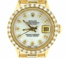 Lady Rolex SOLID 18K Yellow Gold Datejust President Diamond Dial Bezel Band 6517