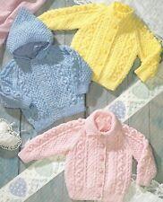 "Baby Aran Jackets with Hood option Knitting Pattern Boys Girls 18-24"" 1044"