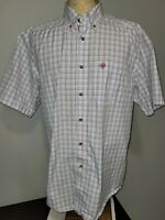 Ariat Pro Series Mens Short Sleeve Button-Up Shirt Large Multicolored Check