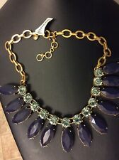 """NWT Beautiful J CREW STATEMENT NECKLACE, BOLD BEAUTY, BLUE CRYSTALS, 18"""""""