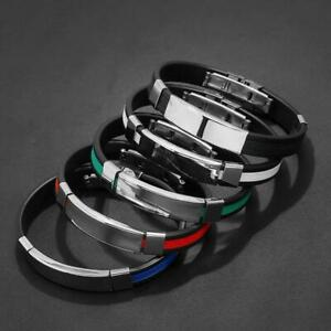 High Quality Titanium Stainless Steel Bracelet Silicone Bangle Men's Fashion