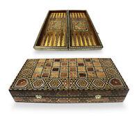 Neu 49 x 49 cm,Mosaik Holz Backgammon-Schach,Dama,Brett,oder Figuren oder Steine