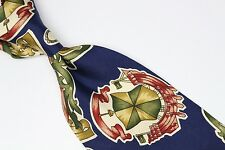 Hugo Boss Silk Neck Tie Navy Blue Green Red Ship Wheel Anchor Crest Armada Print