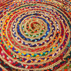Round Jute and Recycled Cotton Denim Indian Rug Reds 90cm Soft and Hard Wearing