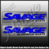 SAVAGE - ALUMINIUM BOATS -  450mm X 110mm X 2 - DECALS - BOAT DECALS
