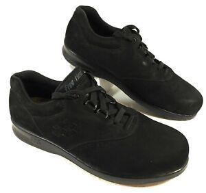 EUC Women's SAS Black Nubuck Leather FREE TIME Oxfords Walking Comfort Sz 9 M