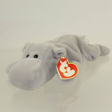 TY Beanie Baby - HAPPY the Hippo (Grey Version) (3rd Gen Hang Tag - 99% Mint)