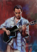 Dave Matthews Band Artwork Signed Oil Painting Stretched Canvas Print
