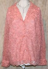 QVCJOLIE BY ERIC GASKINS STUNNING BUTTON FRONT LACE BLOUSE LINED CUFFS WLINKS 3X