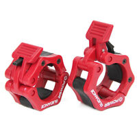 Red ABS Olympic Lock Barbell Clamp Collars CrossTrainning Weight Bar