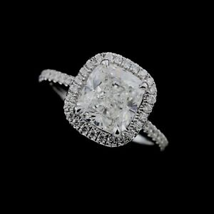 Diamond Floating Cushion Halo Engagement Ring Setting Flush Fit Design Platinum