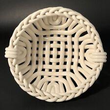 1992 Handmade Warm White Woven Braided Ceramic Basket Modern Country Vibe