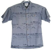 Columbia Mens Large Silk Blend Hawaiian Camp Shirt Blue Button Up Volcano Boat