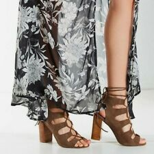 a345bdb9433 Jeffrey Campbell Allow Lace Up Brown Suede Gladiator Block Heel Sandals Sz  6 New