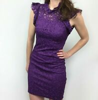NWT Alexia Admor Purple Lace Cap Short Sleeve Mini Dress Women's Size XS