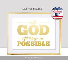 With God All Things Are Possible Gold Foil Print Jesus Christ Jehovah Art Poster