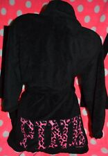 Victoria's Secret PINK Black animal print logo leopard soft bath robe wrap XS/S