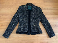 New ZARA Womens sz M black yellow metallic boucle fringe jacket blazer