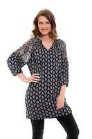 Ex Monsoon Black Patterned Oversize 3/4 Sleeve Dress Size 12 14 16 18 20 22 (P29