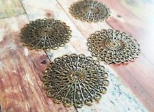 4 Filigree Cabochon Blanks Setting Circle Antique Bronze Tone 43mm