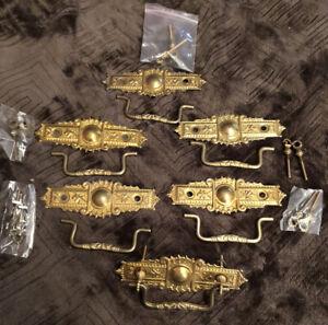6 MATCHING VIINTAGE BRASS FINISH EASTLAKE STYLE PULLS OR HANDLES