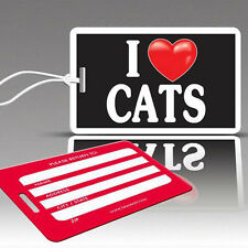 TagCrazy Fun Luggage Tags, I Heart Cats, Durable Plastic Loops, 3 Pack
