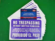 12pk Purple Spanish Aluminum No Tresspassing Trespassing Without Permission Sign