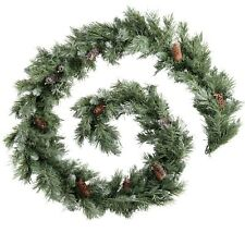 Scandinavian Blue Spruce Christmas Garland with Pine Cones 9 ft