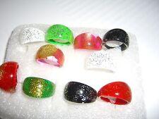 10 bunte Sommer Ringe 5 Farben Kunststoff mit Glitter 4 verschiede Größen NEU