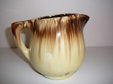 Cornwell Pottery Australian Jug made in Melb 1930's drip glaze Cream Brown Large